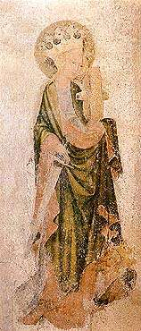 Kirche St. Veit in Český Krumlov, Wandgemälde mit der Gestalt der hl. Katharina, 1420