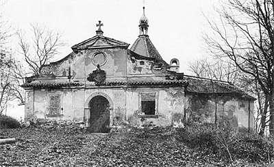 Kaple na Křížové hoře ve městě Český Krumlov, celkový pohled, stav před rekonstrukcí