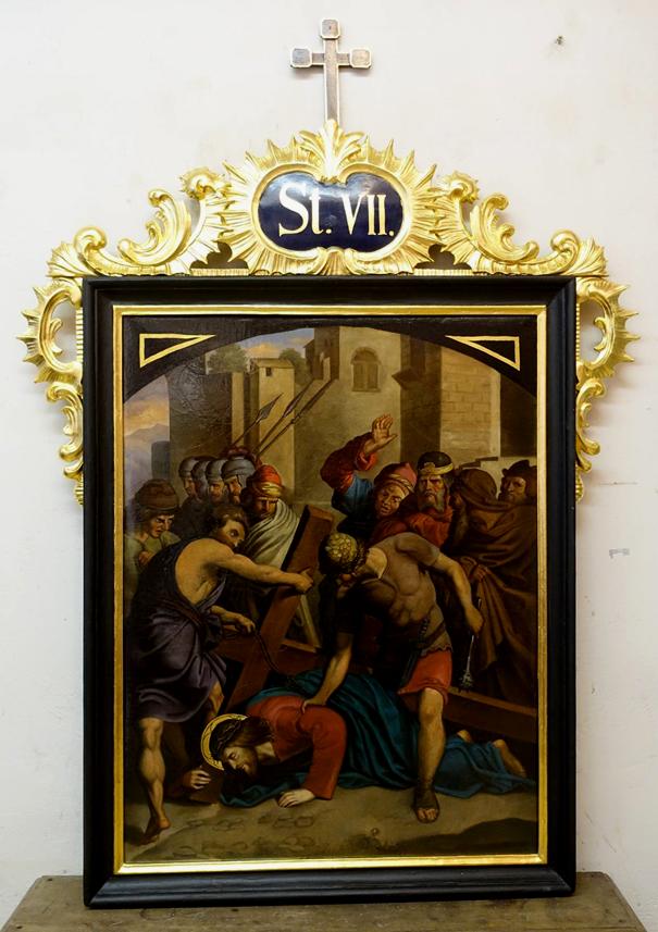 Zátoň - zrestaurování zastavení Křížové cesty VI. a VII.